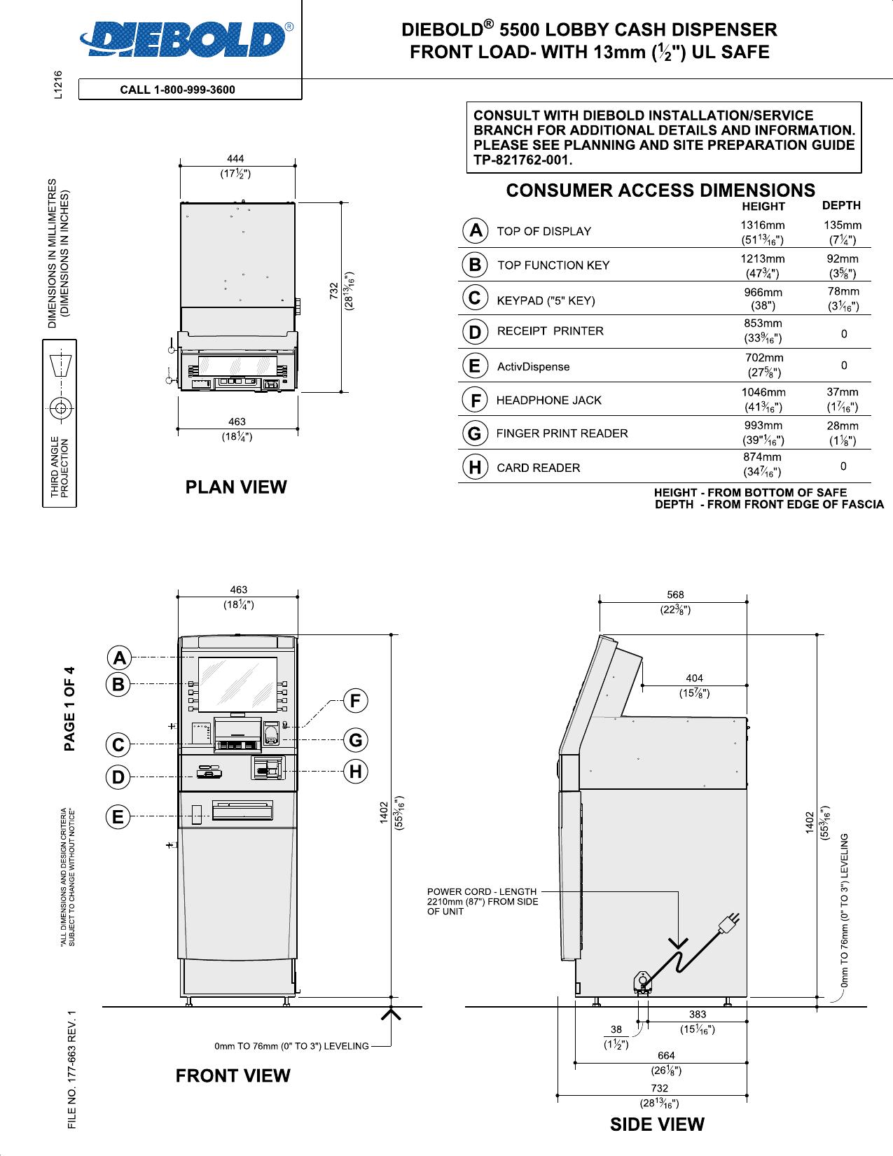 Diebold Lobby Cash Dispenser Front Load With Mm UL - Diebold atm alarm wiring diagram