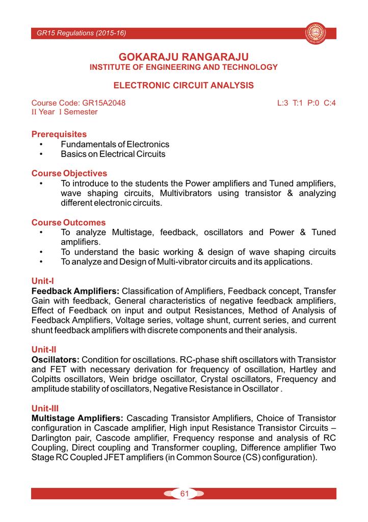 Electronics Circuits Analysis