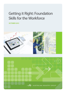 Getting it Right: Foundation Skills for the Workforce