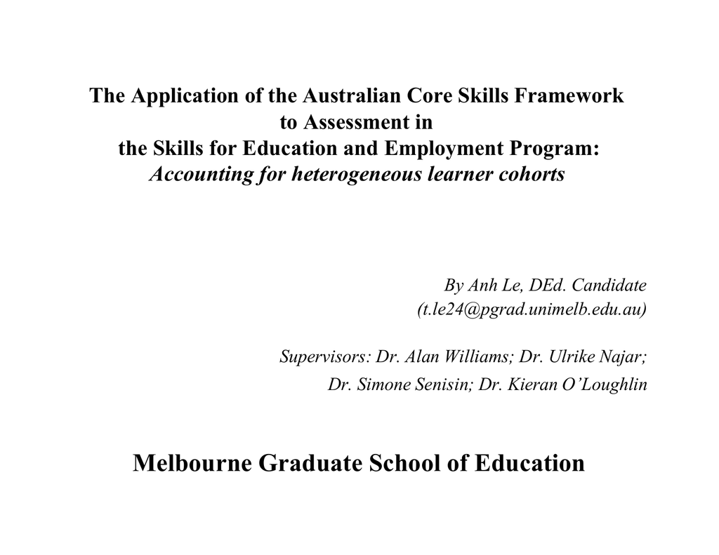The Application Of The Australian Core Skills Framework To