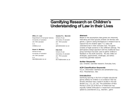 Gamifying Research on Children`s Understanding of Law in their Lives
