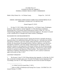Federal Energy Regulatory Commission order amending Appendix