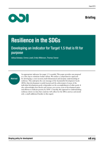 Resilience in the SDGs: developing an indicator for Target 1.5 that is