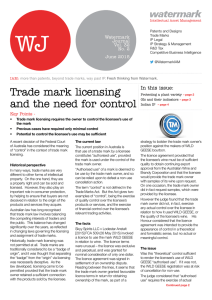 Trade mark licensing and the need for control