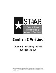 English I Writing - Texas Education Agency