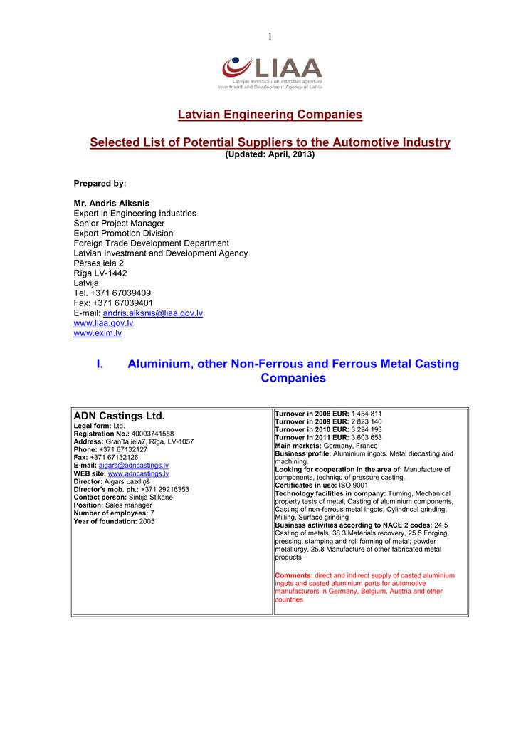 Latvian Engineering Companies Selected List of