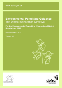 Environmental permitting guidance: The Waste Incineration