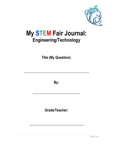 My STEM Fair Journal - Cherry Hills Village Elementary