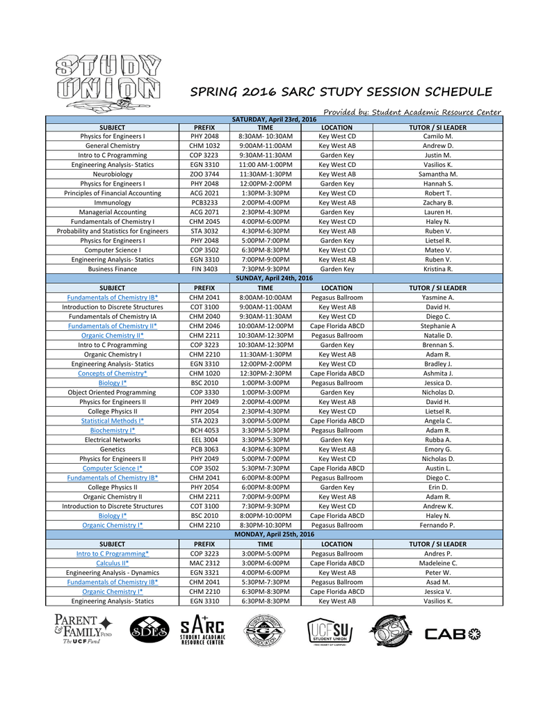 Spring 2016 Sarc Study Session Schedule