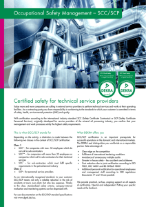 Certified safety for technical service providers