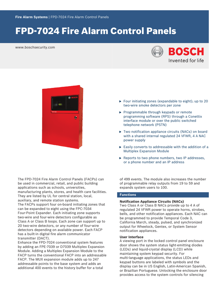 Fpd-7024 fire alarm control panels.