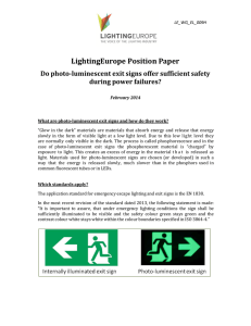 Position Paper on Photo-Luminescent Exit Signs