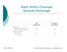 Adam Smith`s Example Absolute Advantage
