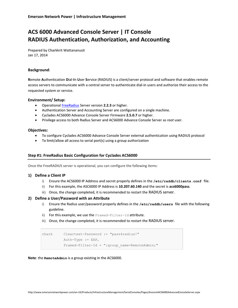 RADIUS Authentication, Authorization, and Accounting