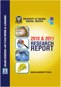 University of Ibadan 2010 and 2011 Research Report