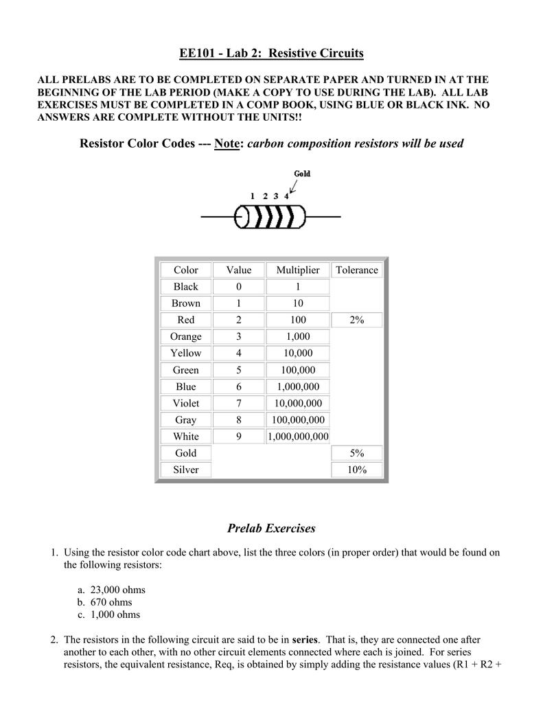 Ee101 Lab 2 Resistive Circuits Resistor Color Codes Diagram