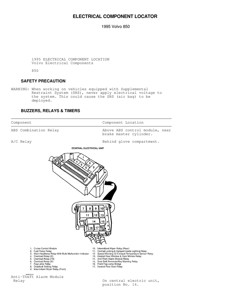 Volvo 850 Electrical Component Locator Wiring Diagram Seat Belt Reminder
