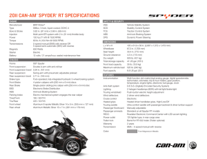 2011 CAn-AM® SpYDER® RT SpECiFiCATiOnS
