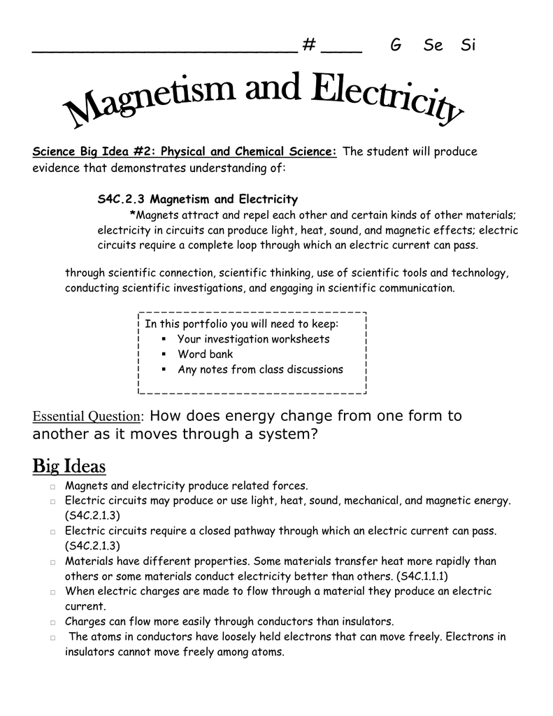 Magnetism And Electricity Study Guide Reflection Journal Circuits