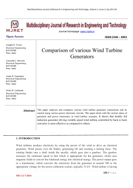 Comparison of various Wind Turbine Generators