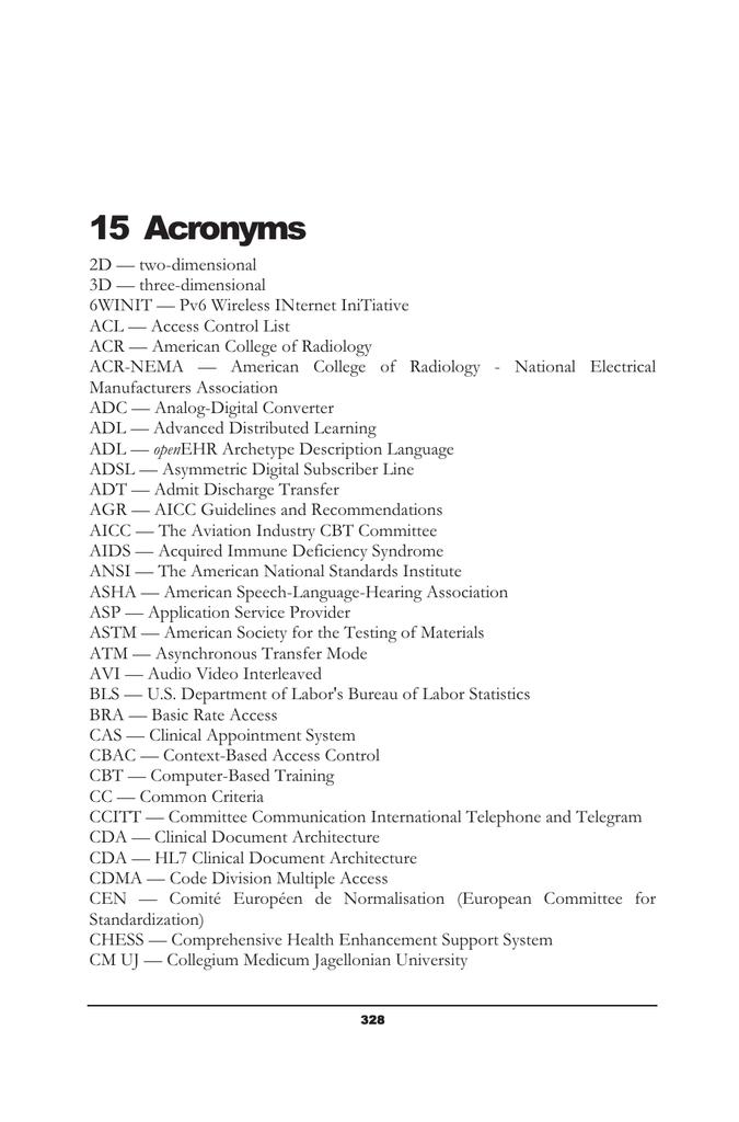 15 Acronyms
