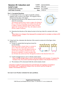 Session 20: Induction and Lenz`s Law