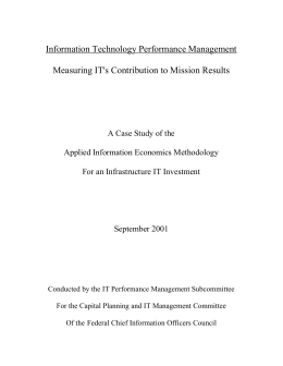 Information Technology Performance Management Measuring IT`s