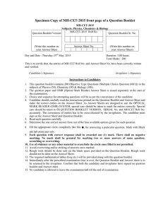 Specimen Copy of MH-CET-2015 front page of a Question Booklet