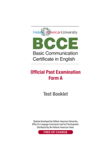 BCCE™ Official Past Examination Candidate Booklet