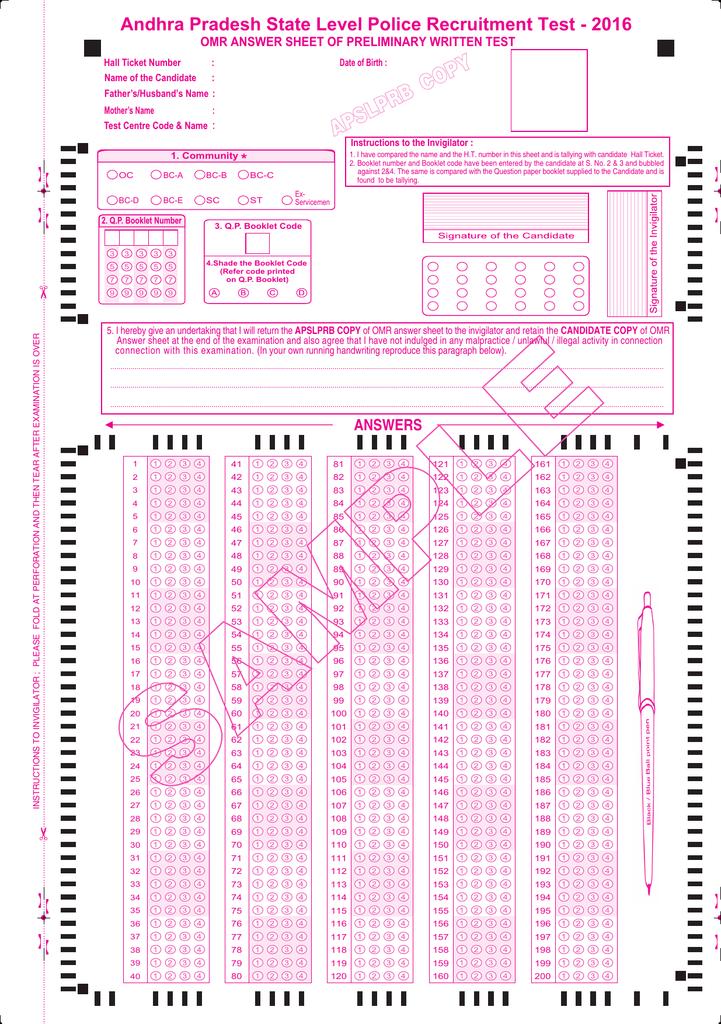 Sample Omr Sheet Pdf