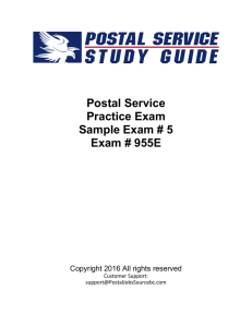 Postal Service Practice Exam Sample Exam # 5 Exam # 955E
