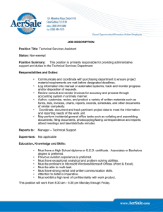 JOB DESCRIPTION Position Title: Technical Services