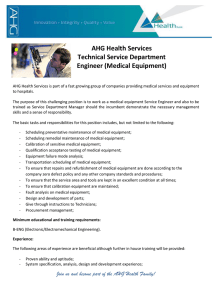 AHG Health Services Technical Service Department Engineer
