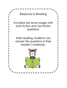 Reading Response/Comprehension Questions