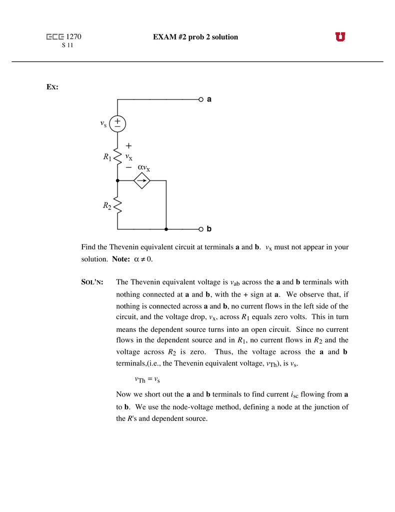 1270 Exam 2 Prob Solution Ex Find The Thevenin Equivalent Learn About Theorem And Dependent Source Circuits