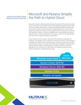 Microsoft and Nutanix Simplify the Path to Hybrid Cloud