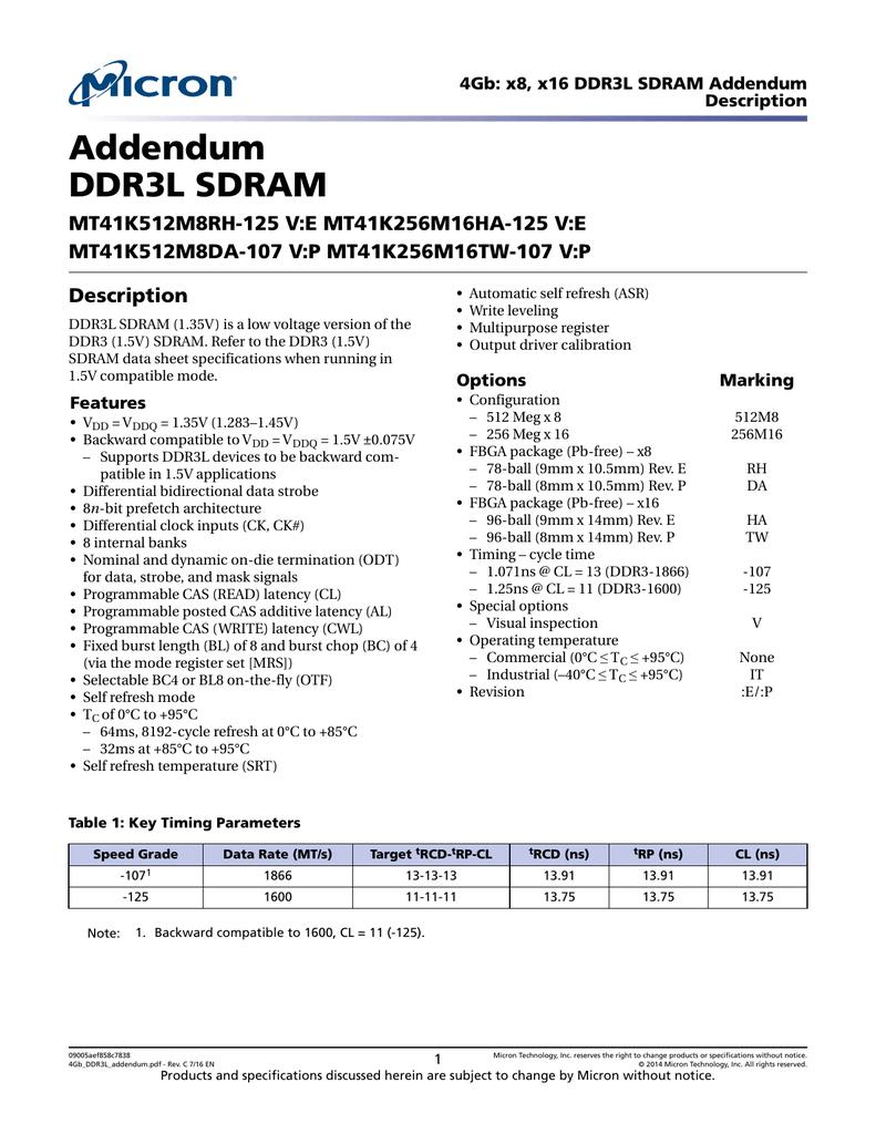 Data sheet addendum: 4Gb: x4, x8, x16 DDR3L SDRAM