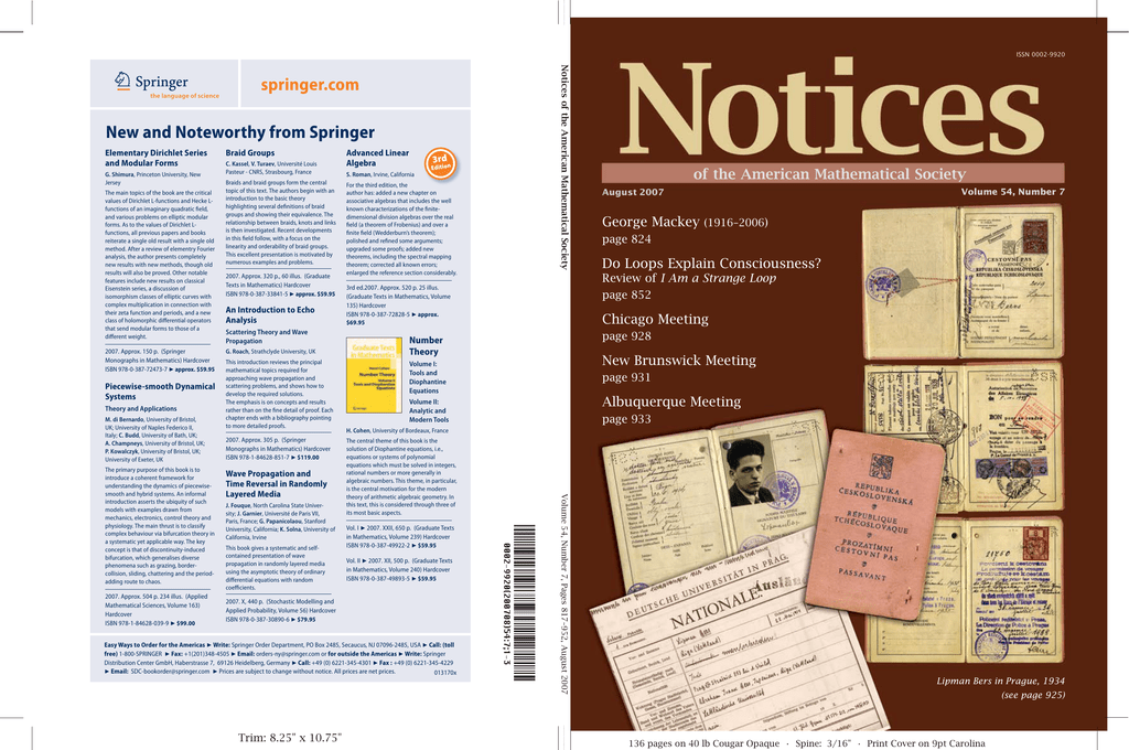 August 2007 AMS Notices - American Mathematical Society