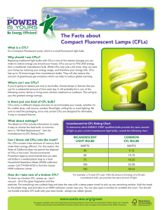 The Facts about Compact Fluorescent Lamps (CFLs)