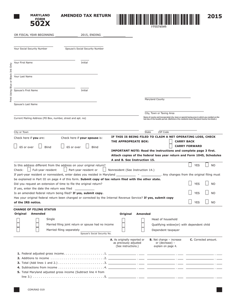 amended tax return maryland tax forms and instructions rh studylib net