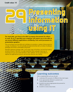 Unit 29: Presenting Information Using IT