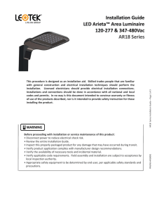 Installation Guide LED Arieta™ Area Luminaire 120-277