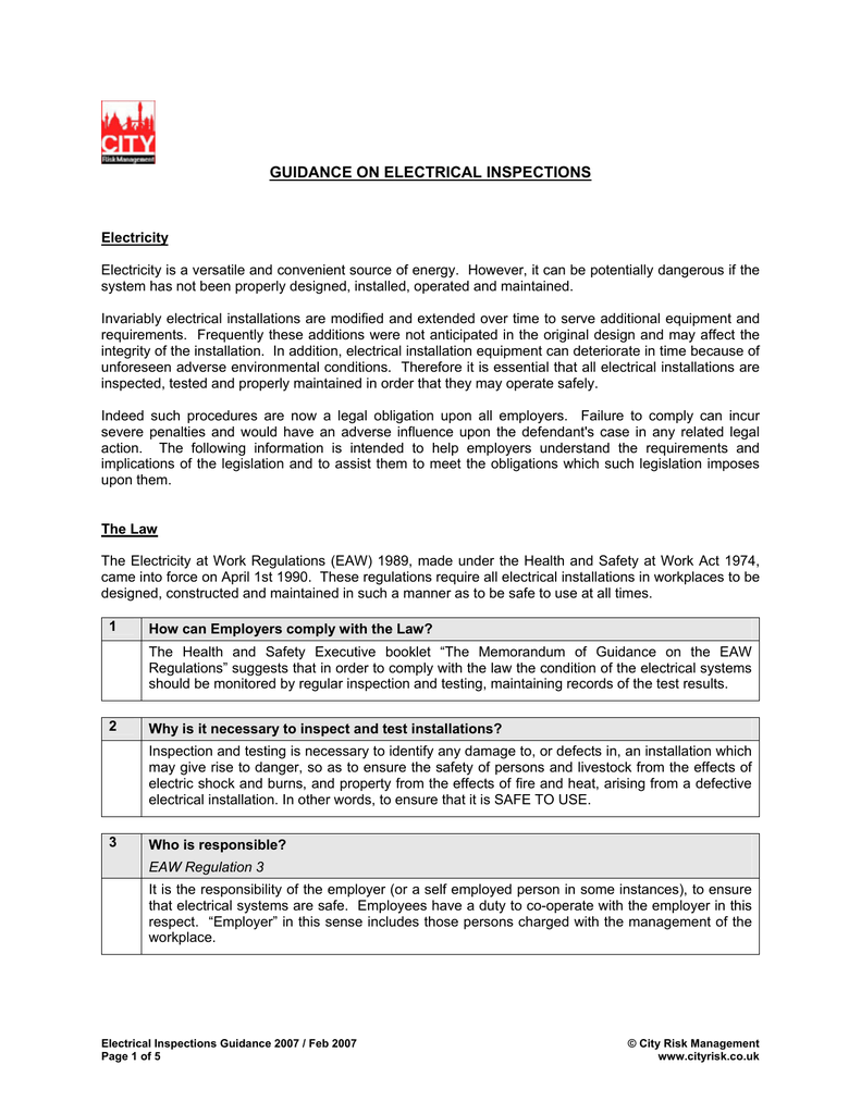 Electrical Inspections Guidance