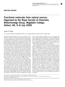 Functional molecules from natural sources: Organized by