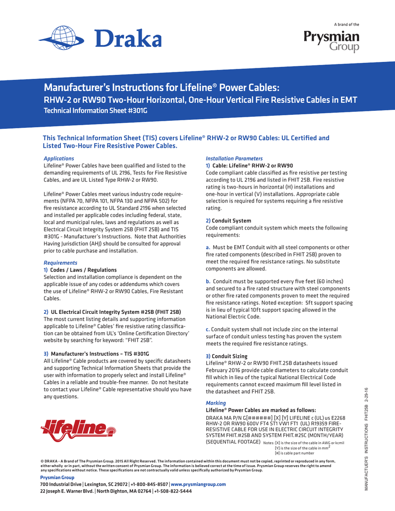 Manufacturers Instructions For Lifeline Power Ul Listed Electrical Wiring Conduit