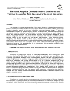 Time and Adaptive Comfort Studies: Luminous and Thermal Design
