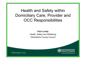 Health and Safety within Domiciliary Care, Provider and OCC