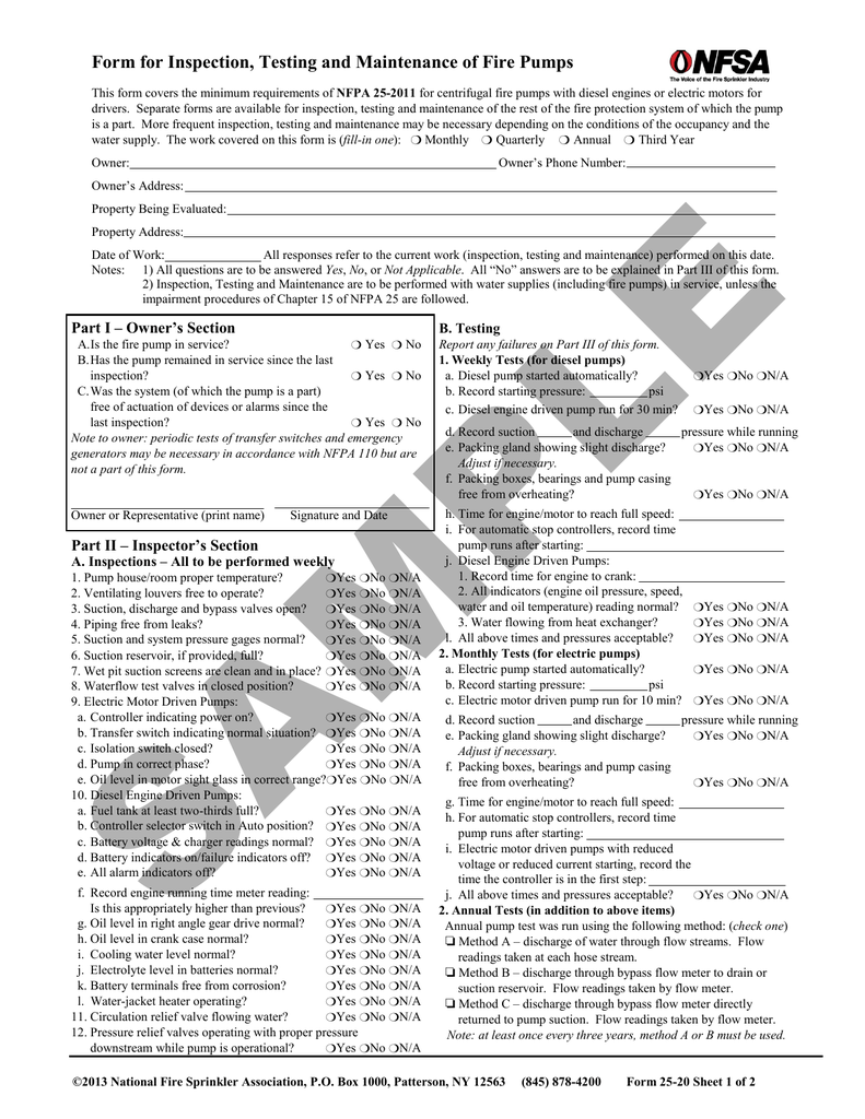 Form for Inspection, Testing and Maintenance of Fire Pumps