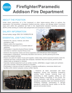 Firefighter/Paramedic Addison Fire Department