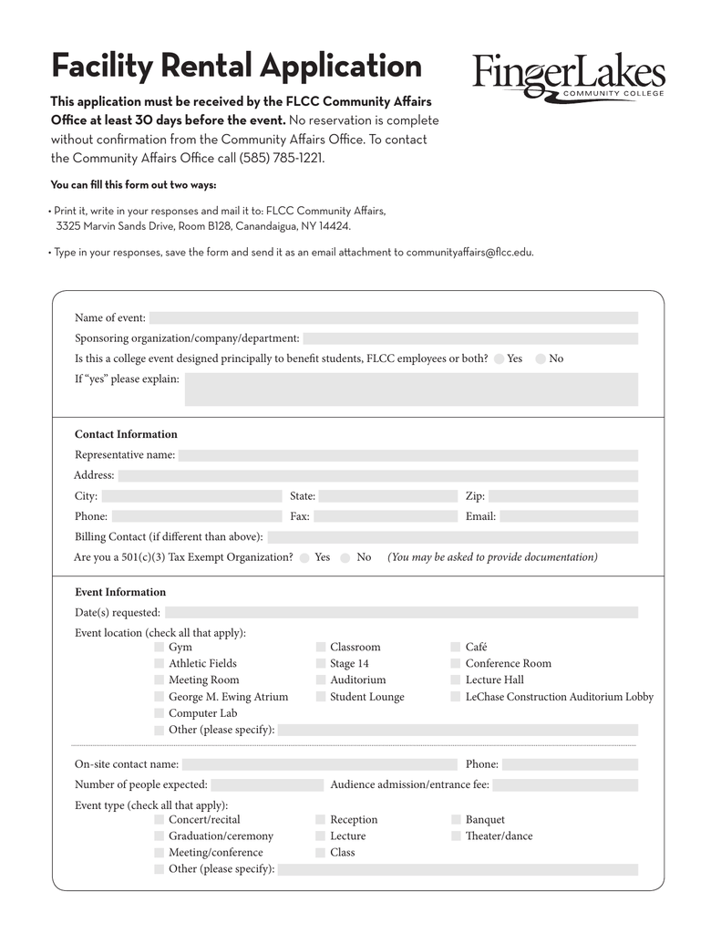 Facility Rental Application
